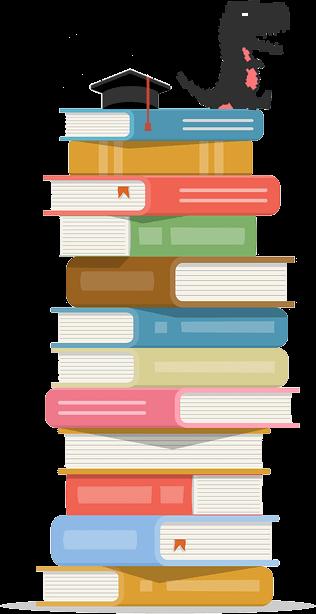Maatwerk met dino op stapel boeken